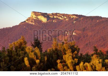 Evening utumnal view of mount Klak Mala Fatra Strazovske vrchy Slovakia