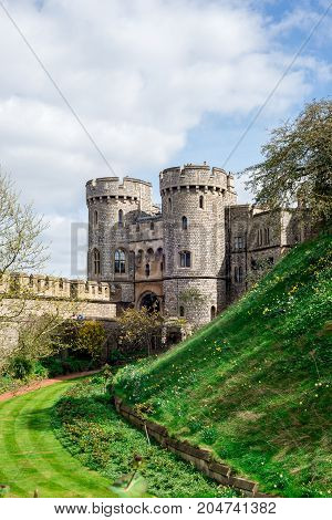 Windsor, England, April 2017: Entrance gate between two towers to inner yard of Windsor Castle England