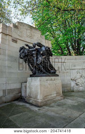 London, England, April 2017: Anglo-Belgian Memorial at Victoria Embankment of Thames river in London Great Britain
