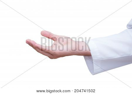 Hands of medical doctor with a gesture. Isolated on white background.