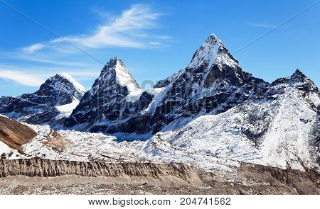 View of mount Cholo Kangchung peak and Nirekha peak way to Cho Oyu base camp Gokyo valley Sagarmatha national park Khumbu valley Nepalese Himalayas