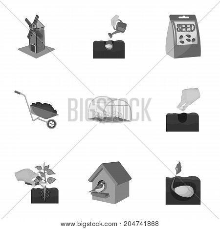 Farm, ecology, nature and other web icon in monochrome style. Soil, manure, plot, icons in set collection.