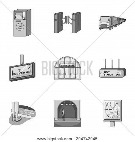 Train, means, movement and other  icon in monochrome style.Equipment, transport, public, icons in set collection. poster