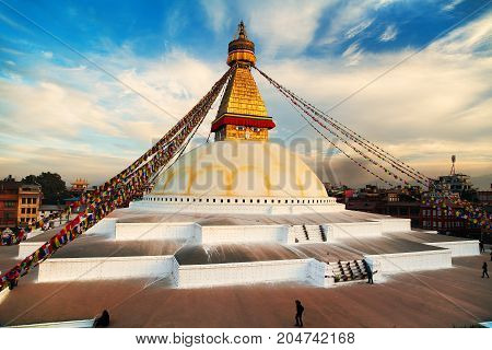 Evening or night view of Boudha or Bodhnath stupa - Kathmandu - Nepal