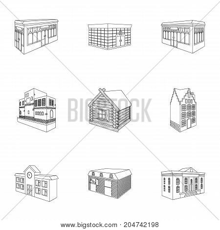 Municipality building, bank office building, stable, wooden hut, bridge and other architectural structures. Architecture and facilities set collection icons in outline style vector symbol stock illustration .