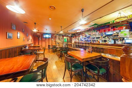 MOSCOW - AUGUST 2014: The interior of the Irish pub and the sports bar