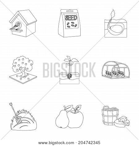 Farm, ecology, nature and other web icon in outline style. Soil, manure, plot, icons in set collection.
