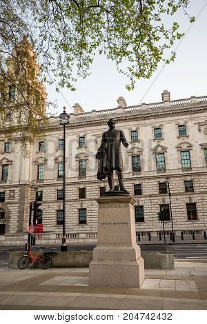 London, England, April 2017: Statue of 3rd Viscount Palmerston in Parliament Square Garden in Westminster Central London