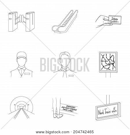 Train, means, movement and other  icon in outline style.Equipment, transport, public, icons in set collection.