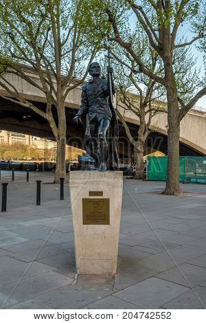London, England, April 2017: A statue of Laurence Olivier near National Theatre in South Bank London England