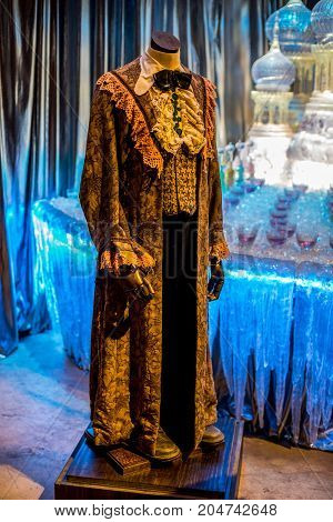London, England, April 2017: Ron Weasley Yule Ball Robe displayed at Warner Brothers Harry Potter Movie Studio Tour London