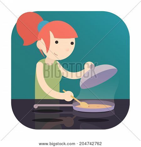 a girl cooking food on Induction Cooktop with pan. a logo icon flat cartoon design