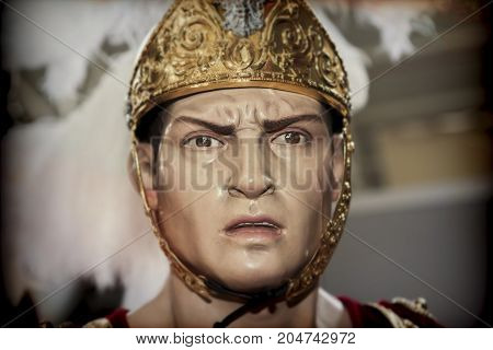 Sculpted and polychromed figure of a Roman, Easter figure in Spain