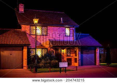 London, England, April 2017: Dursley family and Harry Potter house in Privet Drive at Warner Brothers Studio Tour London