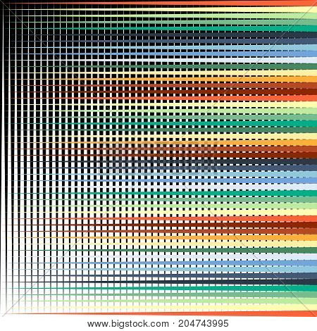 Abstract Colorful Horizontal Straight Lines On Black Background. Pattern Vector Background.