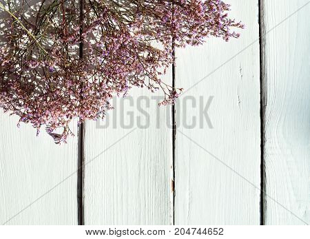 flowering branch of Limonium platyphyllum on white wooden background