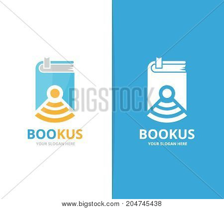 Vector book and wifi logo combination. Novel and signal symbol or icon. Unique bookstore, library and radio, internet logotype design template.