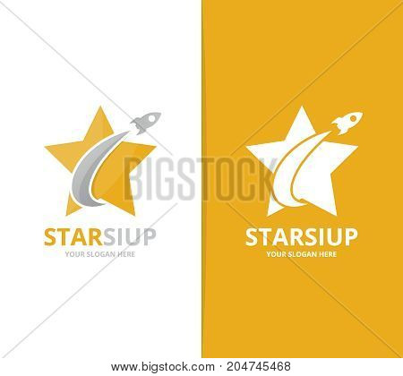 Vector star and rocket logo combination. Leader and airplane symbol or icon. Unique flight and team logotype design template.