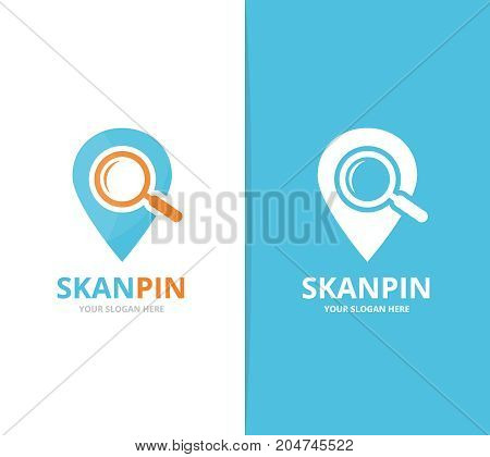 Vector of map pointer and loupe logo combination. GPS locator and magnifying symbol or icon. Unique pin and search logotype design template.