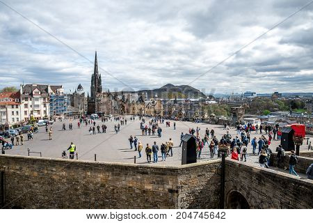 Edinburgh, Scotland, April 2017: A view to Esplanade Square Edinburgh Military Tattoo venue from castle wall