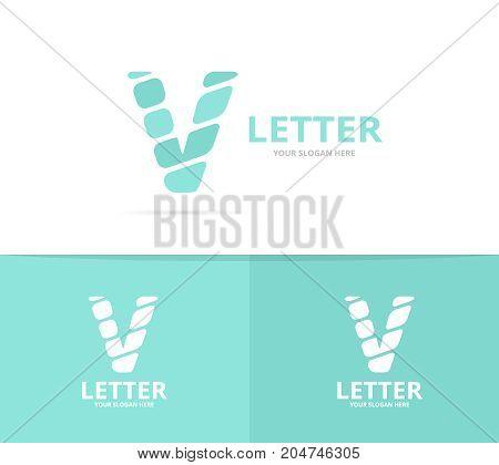 Unique vector letter V logo design template.