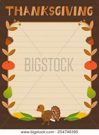 Cute Thanksgiving sign with autumn elements as a border. Eps10