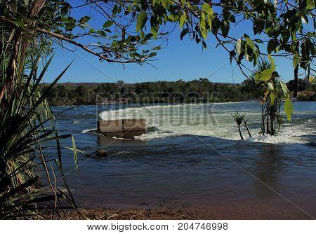 Flooded Ivanhoe River crossing in the Kimberley region of Western Australia