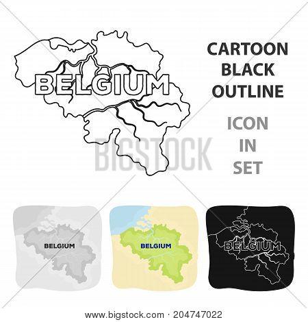 A fragment of the map of Belgium.The dark Belgian wolf. Belgium single icon in cartoon style vector symbol stock web illustration.