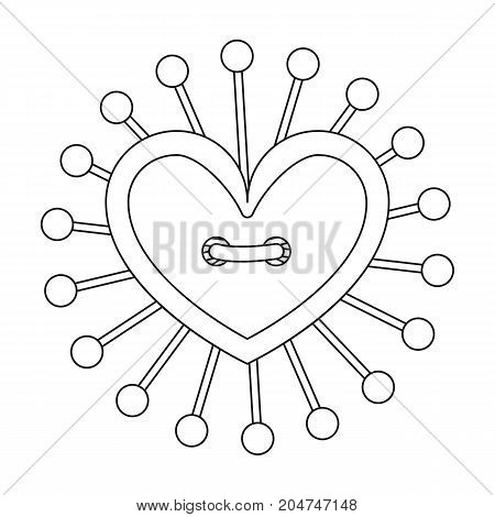 Pad with sewing pins. Sewing and equipment single icon in outline style vector symbol stock illustration .