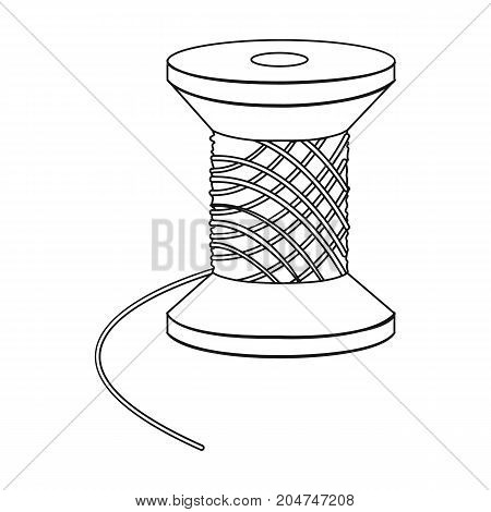 The wooden coil of thread for sewing. Sewing and equipment single icon in outline style vector symbol stock illustration .