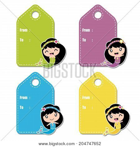 Cute mermaid girl vector cartoon illustration for birthday gift tag design, label tag and sticker set design