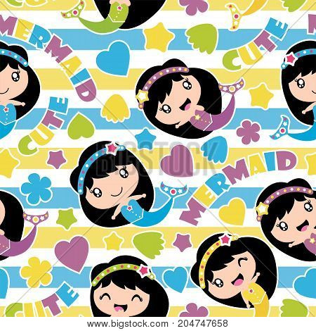 Seamless pattern of cute mermaid girls, stars and love shape on striped background vector cartoon illustration for birthday wrapping paper, fabric clothes, and wallpaper