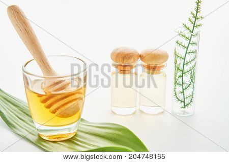 Honey in a glass put on in a wood on white background