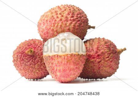 lychee or litchi fruit isolated on white background,popular Asian fruit