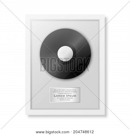Realistic vector LP and label in glossy white frame icon closeup isolated on white background. Single album disc award. Design template. Stock vector mockup. EPS10 illustration.