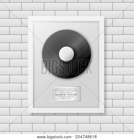 Realistic vector LP and label in glossy white frame icon closeup on white brick wall background. Single album disc award. Design template. Stock vector mockup. EPS10 illustration.