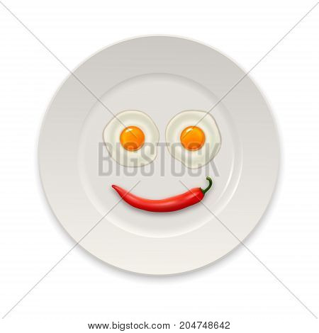Two realistic fried eggs and red hot chili pepper laid out in the form of an emoticon in a white porcelain plate icon closeup isolated on white background. Design template. Stock vector mockup. EPS10 illustration.