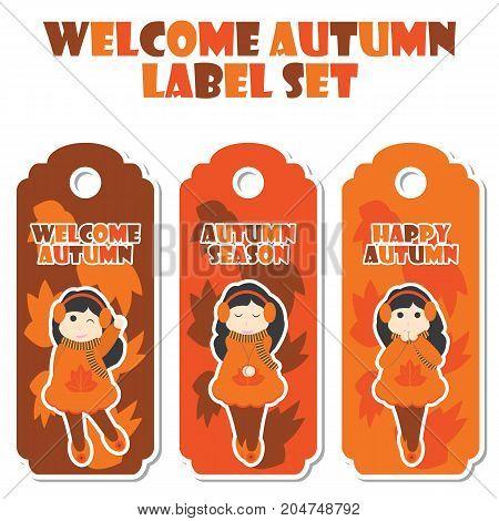 Cute girls on mapple leaves background vector cartoon illustration for Happy Autumn label set design, banner set and postcard design