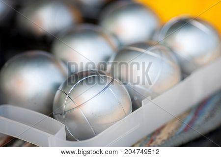 Petanque sport on case - stock image