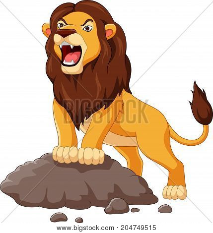 Vector illustration of Cartoon lion roaring isolated on white background