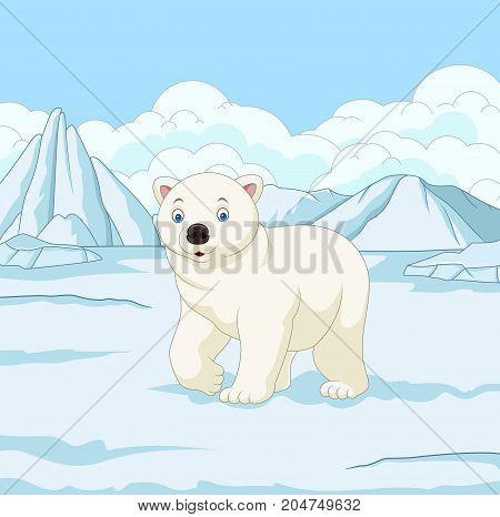 Vector illustration of Cartoon polar bear in snowfield