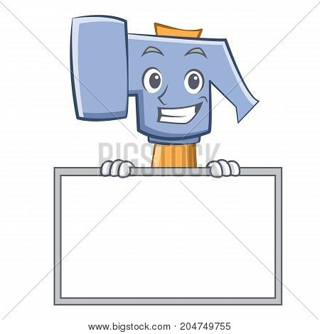 Grinning with board hammer character cartoon emoticon vector illustration