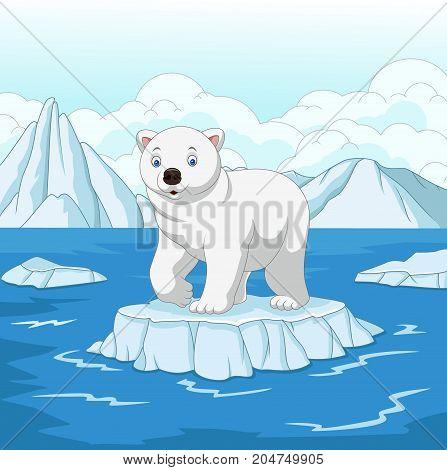 Vector illustration of Cartoon polar bear isolated on ice floe