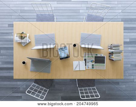 3d rendering of working table with depth of field photo. working wooden table which have laptop booknotebookcoffee cup on it business concept. Top view and flatlay photo style