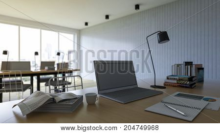 3d rendering of working table with depth of field photo. working wooden table which have laptop booknotebookcoffee cup and desk lamp on it business concept. selective focus on laptop.