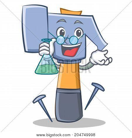 Professor hammer character cartoon emoticon vector illustration