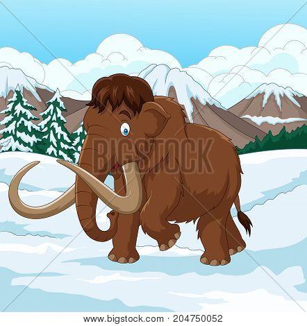 Vector illustration of Cartoon Woolly Mammoth walking through a snowy field