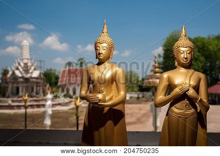 two image of Buddha in temple thailand