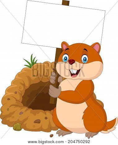 Vector illustration of Cartoon groundhog holding blank sign