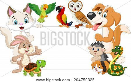 Vector illustration of Cartoon pets with blank sign